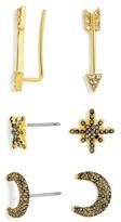 BaubleBar Women's 3-Pack Crystal Earrings