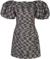 KHAITE oversized-sleeve check mini dress