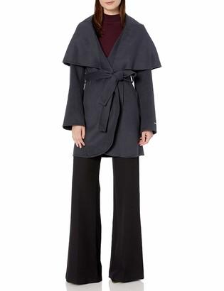T Tahari Women's Double face Wool Coat with Optional self tie Belt