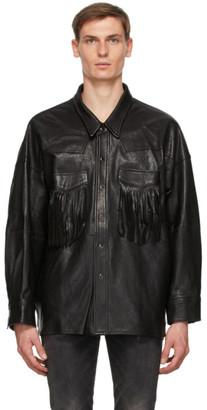 R 13 Black Lambskin Fringe Jacket