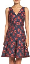 Maggy London Shadow Floral Jacquard Dress