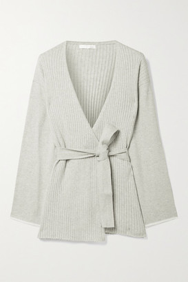 Skin Marissa Belted Ribbed Cotton And Cashmere-blend Cardigan - Stone
