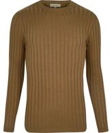 River Island MensLight brown chunky ribbed muscle fit top