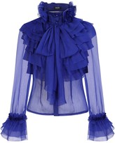Girls On Film Lesa Navy Frill And Pussybow Blouse