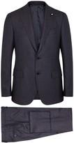 Lardini Navy Checked Wool Suit