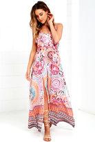 LuLu*s Dawning Light Orange Print Maxi Dress