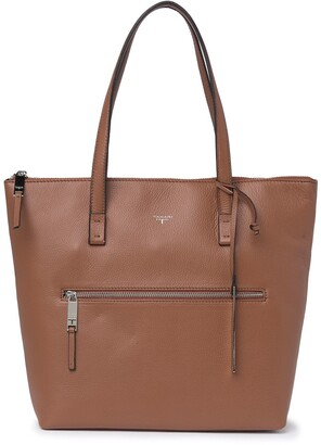 T Tahari Cognac Leather Tote