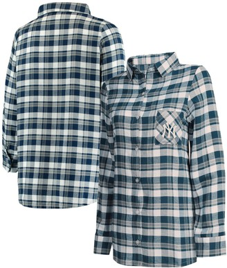 Women's Concepts Sport Navy/Gray New York Yankees Plus Size Piedmont Flannel Nightshirt