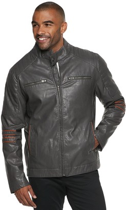 X-Ray Men's XRAY Slim-Fit Faux-Leather Moto Jacket