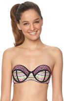 Juniors' Breaking Waves Tribal Push-Up Bandeau Bikini Top