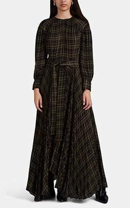 Proenza Schouler Women's Graphic-Plaid Chiffon Maxi Dress - Grn. Pat.