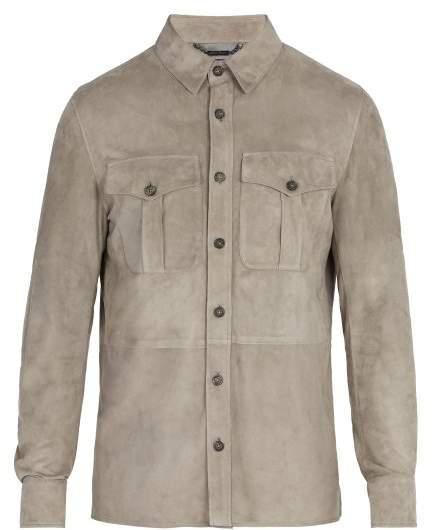 Ralph Lauren Purple Label Barron Point Collar Suede Jacket - Mens - Grey