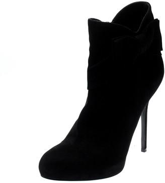 Christian Dior Black Suede Bow Detail Platform Ankle Boots Size 40