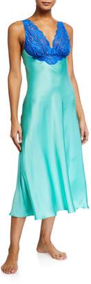 Christine Lingerie Bijoux Lace-Trim Silk Nightgown