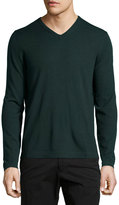 Neiman Marcus Wool V-Neck Modern-Fit Sweater, Green Lake
