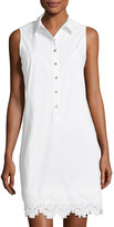 Neiman Marcus Lace-Trim Sleeveless Shirtdress, White