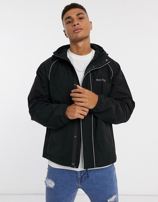 Nicce Linear jacket with reflective piping and back logo in black