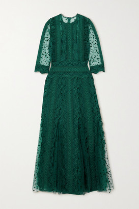 Costarellos Cade Polka-dot Flocked Tulle And Guipure Lace Midi Dress - Forest green