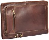A1 FASHION GOODS A4 Leather Folder Zip Around Underarm Mens Folio File Documents Bag A942