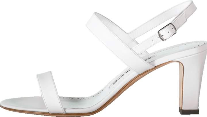 Manolo Blahnik Double Strap Chunky Heel Sandal