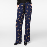 Paul Smith Women's Navy 'Leopard' Print Drawstring Trousers