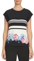 CeCe Women's Flower Duet Stripe Tee
