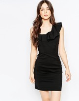 Vila Pencil Dress With Ruffle Detail