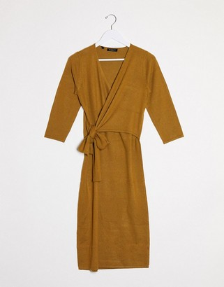 Selected Naya wrap knot detail midi dress in brown
