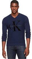 Calvin Klein Jeans Men's Flock Logo V-Neck Sweater