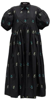 Cecilie Bahnsen Mikko Floral-embroidered Poplin Dress - Black Multi
