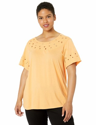 Lucky Brand Women's Plus Size Embroidered Cut-Out TOP