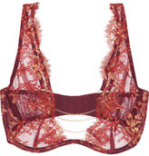 Agent Provocateur Soirée Inka Chain-trimmed Metallic Leavers Lace Underwired Bra - Claret