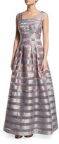 Kay Unger New York Cap-Sleeve Striped Floral Ball Gown