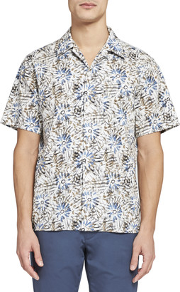 Theory Weldon Camp Colar Printed Shirt