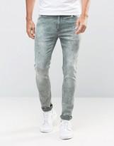 Asos Super Skinny Jeans In Green Acid Wash