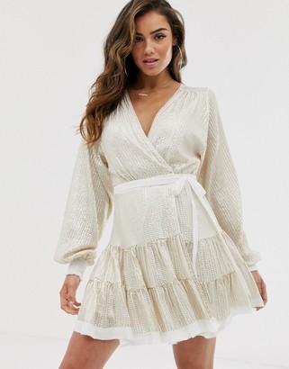 ASOS DESIGN embellished mini dress in all over sequin with skater skirt