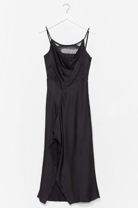 Nasty Gal Womens Give Us a Cowl Neck Satin Midi Dress - Black - L