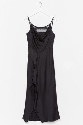 Nasty Gal Womens Give Us a Cowl Neck Satin Midi Dress - Black - S, Black