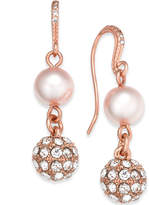 Charter Club Rose Gold-Tone Pave & Imitation Pearl Double-Drop Earrings, Created for Macy's
