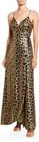 Aidan Mattox Leopard Sequin Sleeveless Wrap Dress