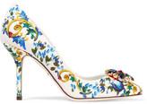 Dolce & Gabbana Swarovksi Crystal-embellished Brocade Pumps - Blue