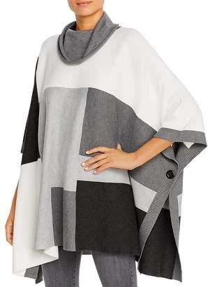 Sioni Color-Block Cowl-Neck Poncho Sweater