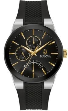 Bulova Men's Futuro Black Silicone Strap Watch 41mm