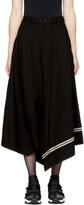 Y's Black Asymmetric Striped Skirt