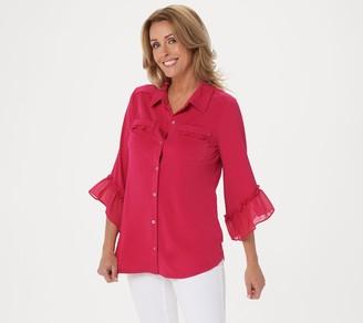 Susan Graver Liquid Knit Button Front Top with Ruffles