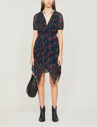 The Kooples Cherry-print pleated crepe midi dress