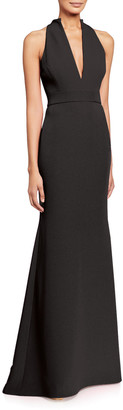 Badgley Mischka V-Neck Column Gown with Cut-In Shoulders