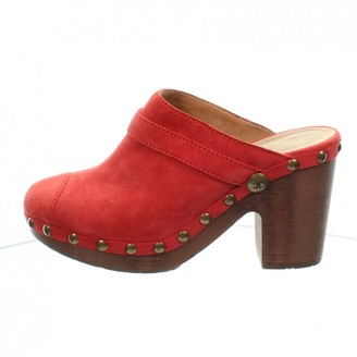 Chanel Red Suede Mules & Clogs
