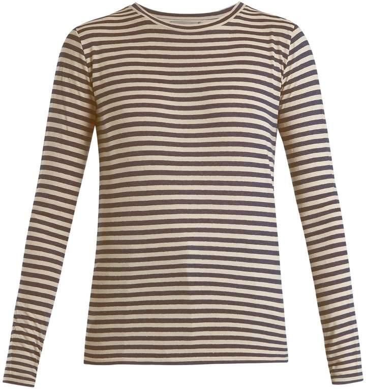 Vince Striped silk-blend long-sleeved T-shirt
