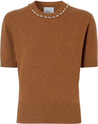Burberry Crystal-Embellished Cashmere Top
